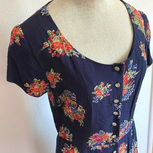 Vtg LIZ CLAIBORNE Modest Floral Midi Dress 10